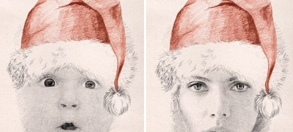 Create Christmas sketch photo