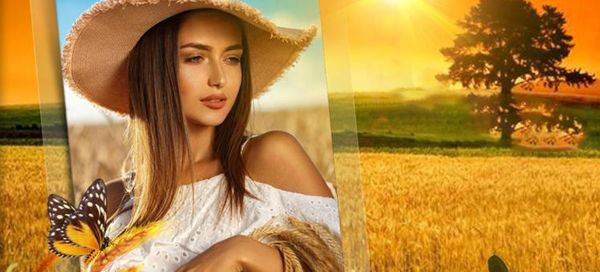 Look, you are so charming with the golden wheat field frame
